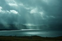 Stormy lake in Iceland