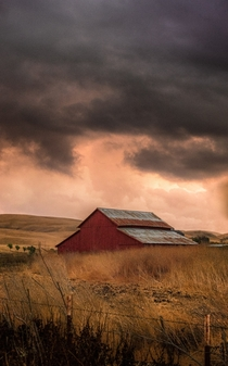 Stormy Skies over Red Barn in Livermore California