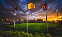Stormy sunset during a baseball game in Albuquerque New Mexico
