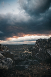 Stormy Weather Sunset on Lake Champlain Burlington Vermont  Instagram coreyrondeau