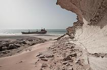 Stranded and rusting away on the coast of the Republic of Mauritania