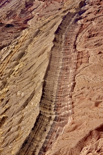 Strata exposed by erosion of folded rock - Helicopter shot from just outside Las Vegas OC - x