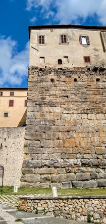 Stratification a medieval palace built on ancient roman walls Ferentino Acropolis Italy