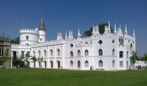 Strawberry Hill House - Twickenham London UK - Gothic Revival villa built by Horace Walpole in  with portions of the exterior designed by English architect James Essex