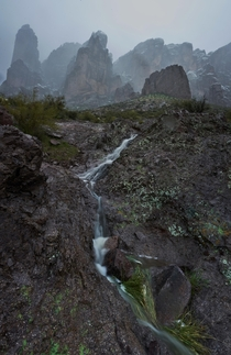 Stream Running Down the Superstition Mountains Arizona