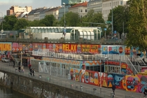 Street art along the Danube canal in Vienna