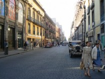Street in Mexico City and a very colonial face