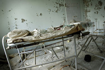 Stretcher left in the hospital in Pripyat Ukraine  x