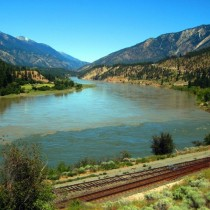 Striking contrast as the clear Thompson River meets the muddy Fraser River at Lytton British Columbia