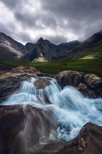 Strong waterflows with skies clearing up Isle of Skye Scotland