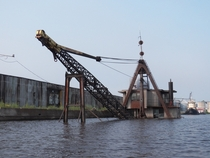 Stuff sinks in Duluth too Sunken crane barge in Duluth Harbor Duluth Minnesota