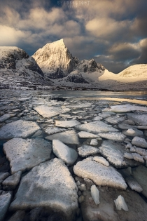 Stumbled on a bay full of ice chunks during sunrise on Lofoten Norway