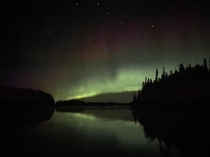 Stumbled upon the Northern lights unexpectedly The big dipper was perfectly visible too Taken in Canada