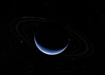 Stunning composite image of crescent Neptune amp crescent Triton based on images captured by Voyager- spacecraft in