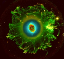 Stunning false-color picture of the Cats Eye nebula shows haunting symmetries in its central region Emissions from nitrogen atoms are represented by red color and emissions from oxygen atoms are represented by green and blue colors