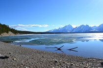 Stunning frozen Jackson Lake in April  - Grand Teton National Park