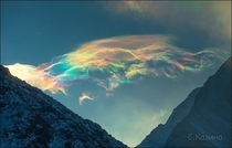Stunning iridescent clouds snapped above skies of Siberias Belukha mountain
