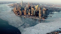Stunning pic of NYC surrounded by ice yesterday