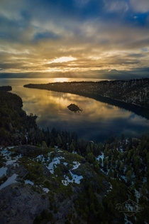 Stunning sunrise over Emerald Bay Lake Tahoe