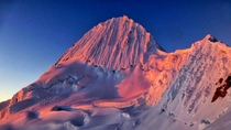 Stunning sunset on Alpamayo in Peru