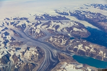 Stunning view of Greenland from the plane window yesterday Greenland and Air Canada