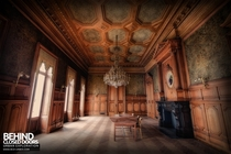 Stunning wood pannelled boardroom of an abandoned University in Belgium