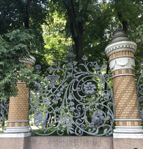 Style Moderne wrought-iron fence of Mikhailovsky Castle St Petersburg