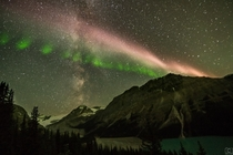 Sub Auroral Arc intersecting with Milky Way at Peyto Wolf Lake Alberta  IG aurorachaseryyc