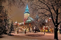 SuboticaVojvodinaSerbia City Hall covered in snow winter idyll