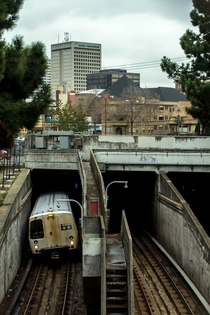 Subway train in Oakland CA