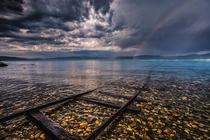 Sugar Pine point South Lake Tahoe CA Image was taken right after a heavy rain storm when a a faint double rainbow appeared photo by Michael Breshears of Lake Tahoe