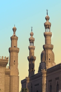 Sultan Hassan  left and Al Rifai  right mosques Cairo EGYPT