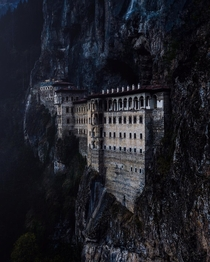 Sumela Monastery a Greek Orthodox monastery originally established around AD  nestled in a steep cliff at an altitude of  meters Trabzon Province Turkey
