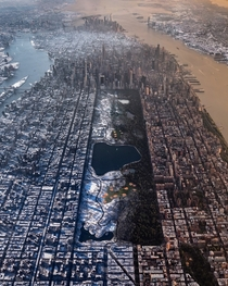 summer and winter composite image from two helicopter photographs over Manhattan - Paul Seibert photo