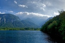 Summer at the lake in Slovenia under the alps Bohinj