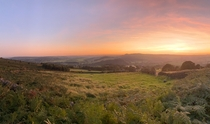 Summer Evening Sunset over Hope Valley Derbyshire UK
