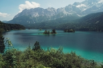 Summer  Lake Eibsee Bavaria Germany