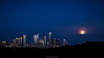 Summer Moonrise over Austin x-post from rAustin