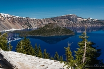 Summertime at Crater Lake on a rare sunny day in Oregon USA  by Jason Rivera
