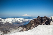 Summited Mount St Helens last week and got this beautiful view of Mount Rainier