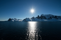 Sun Glistening on the Water in Antarctica