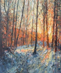 Sun meeting snow acrylic painting I did of woods in Newfane Vermont