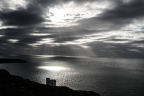 Sun rays on the Irish sea South Stack Wales