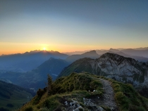Sun rise seen from the Dent de Jaman in VD Switzerland