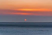 Sun rising over the Bonneville Salt Flats Utah