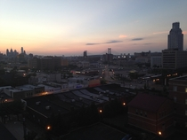 Sun Setting Behind Philadelphia and Camden New Jersey