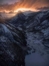 Sun setting behind The Continental Divide Colorado