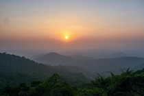 Sun setting into Arabian Sea Westernghats India