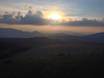 Sun setting on the Blue Ridge Mountains in NC close to the Tennessee border