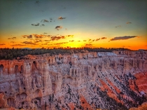 Sun setting over Bryce Canyon NP UT